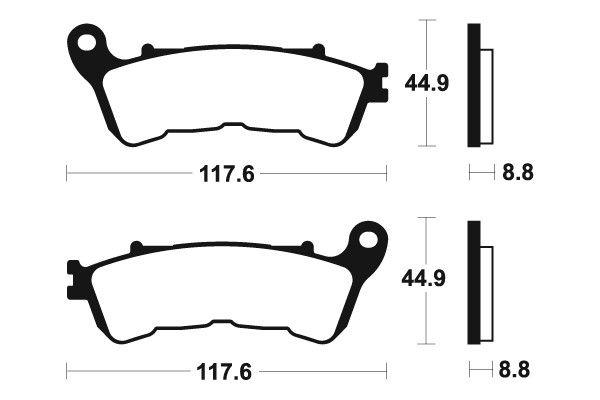 Přední brzdové destičky SBS 828HS - Honda SH i 300ccm - 07> SBS (Bendix)