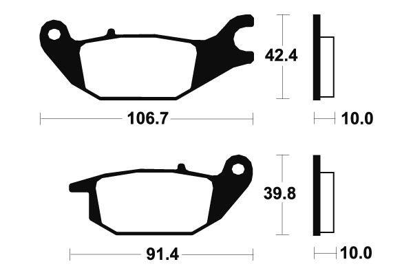 Zadní brzdové destičky SBS 784HF - Honda CBR 125 R 125ccm - 04-10 SBS (Bendix)