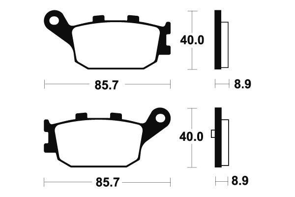 Zadní brzdové destičky SBS (Bendix) MR 253 - Honda Forza 250ccm - 00>04