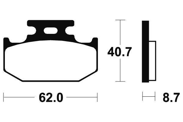 Zadní brzdové destičky SBS 632HF- Yamaha DT 125 X, 125ccm - 05-06 SBS (Bendix)