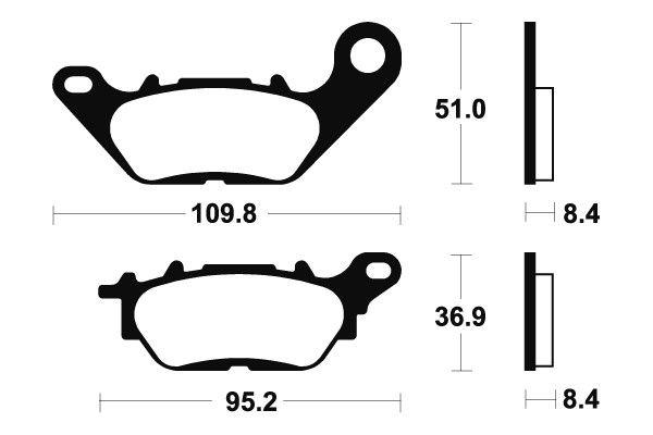 Přední brzdové destičky SBS 858HF - Yamaha Crypton X 135ccm - 08> SBS (Bendix)