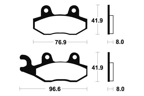 Přední brzdové destičky SBS 611HF - Yamaha TT-R 230ccm - 05> SBS (Bendix)