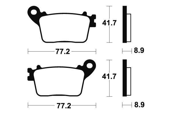 Zadní brzdové destičky SBS 834HF - Honda CBR 1000 RR Fireblade ABS 1000ccm - 06-18 SBS (Bendix)