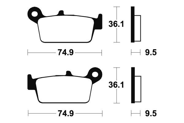 Zadní brzdové destičky SBS 604SI - Yamaha YZ 125ccm - 98>02 SBS (Bendix)