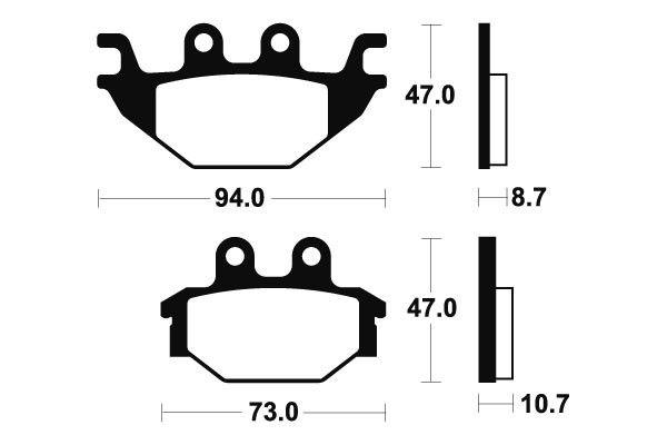Zadní brzdové destičky SBS 810HF - Yamaha YZF R 125ccm - 08> SBS (Bendix)