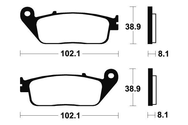 Přední brzdové destičky SBS 627HF - Honda VTX S 1300ccm - 03> SBS (Bendix)