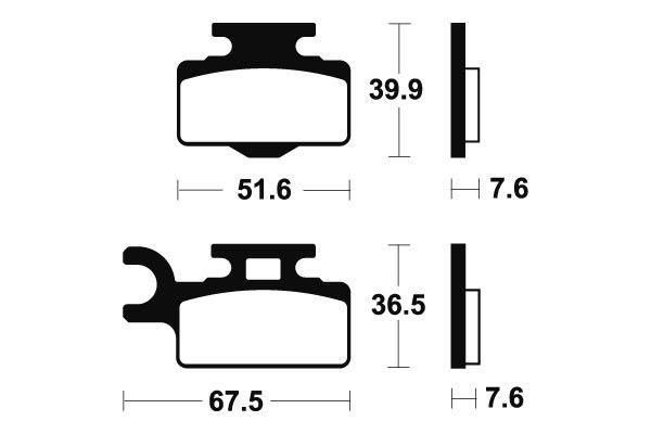 Přední brzdové destičky SBS 752RSI - Kawasaki KX 65ccm - 00> SBS (Bendix)