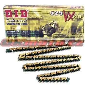 Řetěz DID - 525VX - X-ring - 118 článků-zlatý D.I.D (Japonsko)