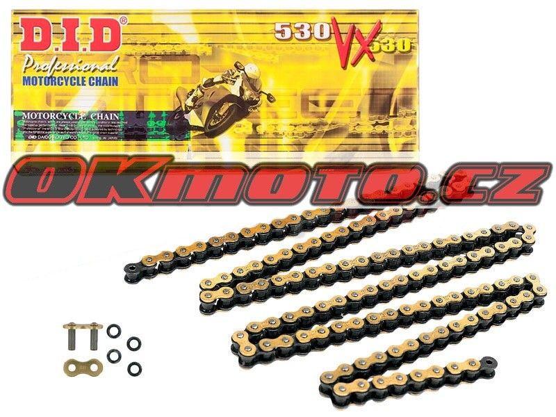 Řetěz DID - 530VX - X-ring - 114 článků-zlatý D.I.D (Japonsko)
