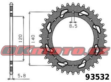 Rozeta SUNSTAR - Kawasaki KLX 650 (C1-C4), 650ccm - 93>98 SUNSTAR (Japonsko)