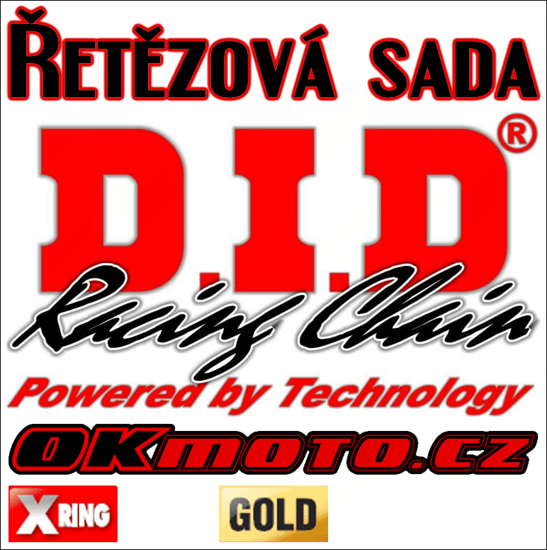 Řetězová sada D.I.D - 520VX3 GOLD X-ring - Kawasaki KLR 650, 650ccm - 86>90 D.I.D (Japonsko)