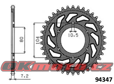 Rozeta SUNSTAR - Kawasaki ZX-R6 Ninja (ZX636), 636ccm - 02>02 SUNSTAR (Japonsko)