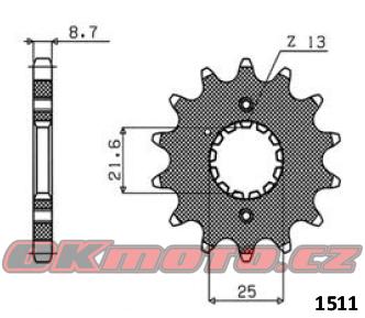 Řetězové kolečko SUNSTAR - Kawasaki GPX 500 R, 500ccm - 88>90 SUNSTAR (Japonsko)