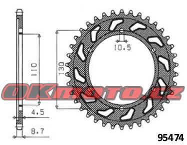 Rozeta SUNSTAR - Kawasaki GPZ 500 R, 500ccm - 88>90 SUNSTAR (Japonsko)