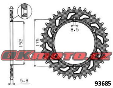 Rozeta SUNSTAR - Yamaha YZ 125, 125ccm - 85>85 SUNSTAR (Japonsko)