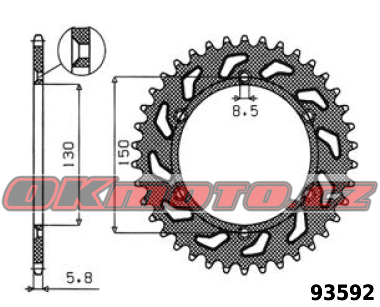 Rozeta SUNSTAR - Yamaha YZ 125, 125ccm - 05>14 SUNSTAR (Japonsko)
