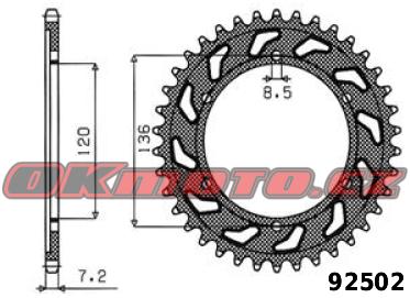 Rozeta SUNSTAR - Yamaha TDR 125, 125ccm - 93>02 SUNSTAR (Japonsko)