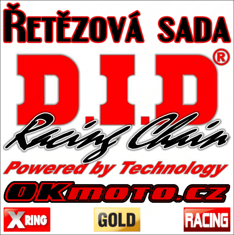 Řetězová sada D.I.D - 520ERVT GOLD X-ring - Yamaha WR 250, 250ccm - 98>98 D.I.D (Japonsko)