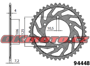Rozeta SUNSTAR - Triumph 675 Daytona R, 675ccm - 11>13 SUNSTAR (Japonsko)